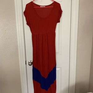 Dresses & Skirts - Rust Red and Blue Maxi Dress